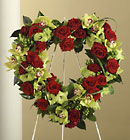 Red Rose and Cymbidium Orchid Heart Wreath Cottage Florist Lakeland Fl 33813 Premium Flowers lakeland