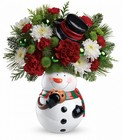 Snowman Cookie Jar Bouquet Cottage Florist Lakeland Fl 33813 Premium Flowers lakeland