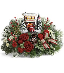Thomas Kinkade's Festive Fire Station Bouquet Cottage Florist Lakeland Fl 33813 Premium Flowers lakeland