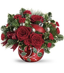 Deck The Holly Ornament Bouquet Cottage Florist Lakeland Fl 33813 Premium Flowers lakeland